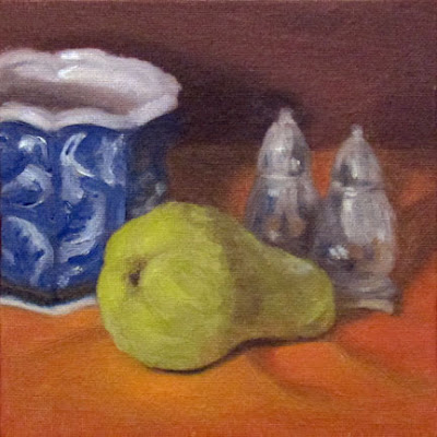 G Sivitz, pear, oil painting,