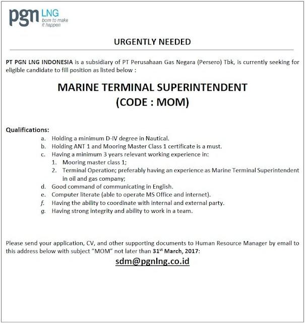Lowongan Kerja PGN LNG Indonesia (subsidiary of PT Perusahaan Gas Negara (Persero) Tbk) Maret 2017