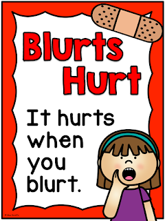 Blurts Hurt poster - click to read instructions on how to teach a meaningful lesson on interrupting (25 Easy Tips to Queit a Chatty Class)