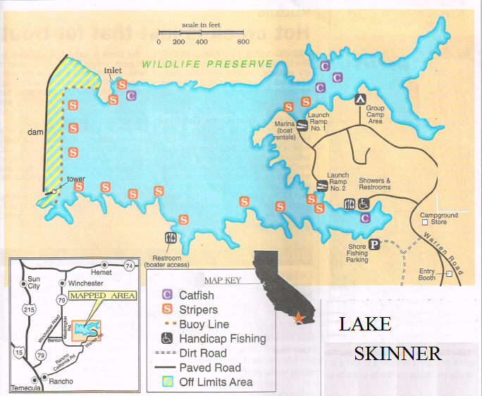 2018 lake skinner fishing map fishing report hunting for Lake skinner fish report