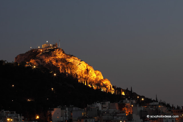 Lycabettus hill artificially lit