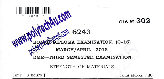 C-16 DIPLOMA STRENGTH OF MATERIALS OLD QUESTION PAPER 2018