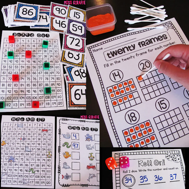 Kindergarten and first grade math games for center rotations and small groups for the entire year! HUGE list of fun hands on math centers and activities