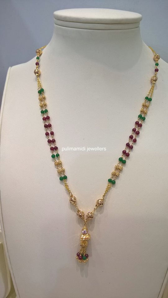 9fa31c98d357e4 Latest light weight Gold jewelry with beads & pearls | Sparkling Fashion