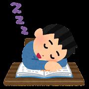 勉強中に寝落ちした人のイラスト(男性)