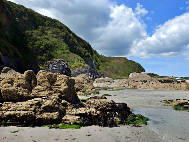 Cliffs and rocks at Pentewan, Cornwall