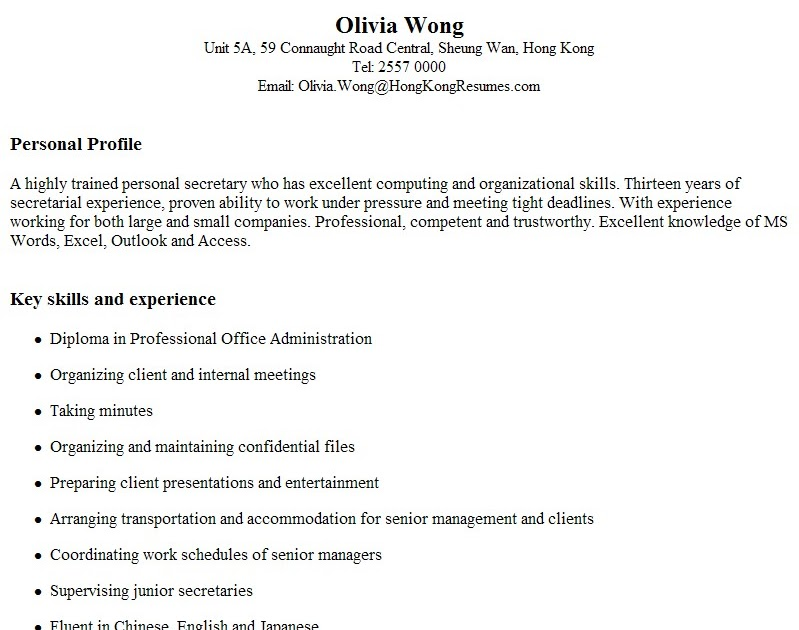 Resume In Hong Kong Evoo Tk