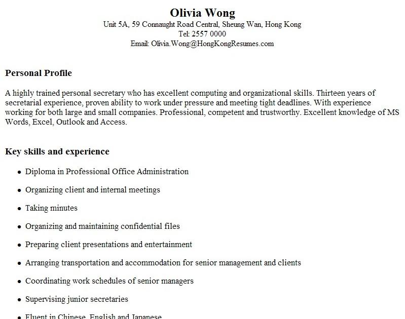 Hong Kong Resume Sample And CV Writing