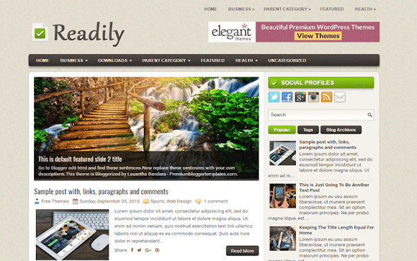 Readily Free Blogger Template