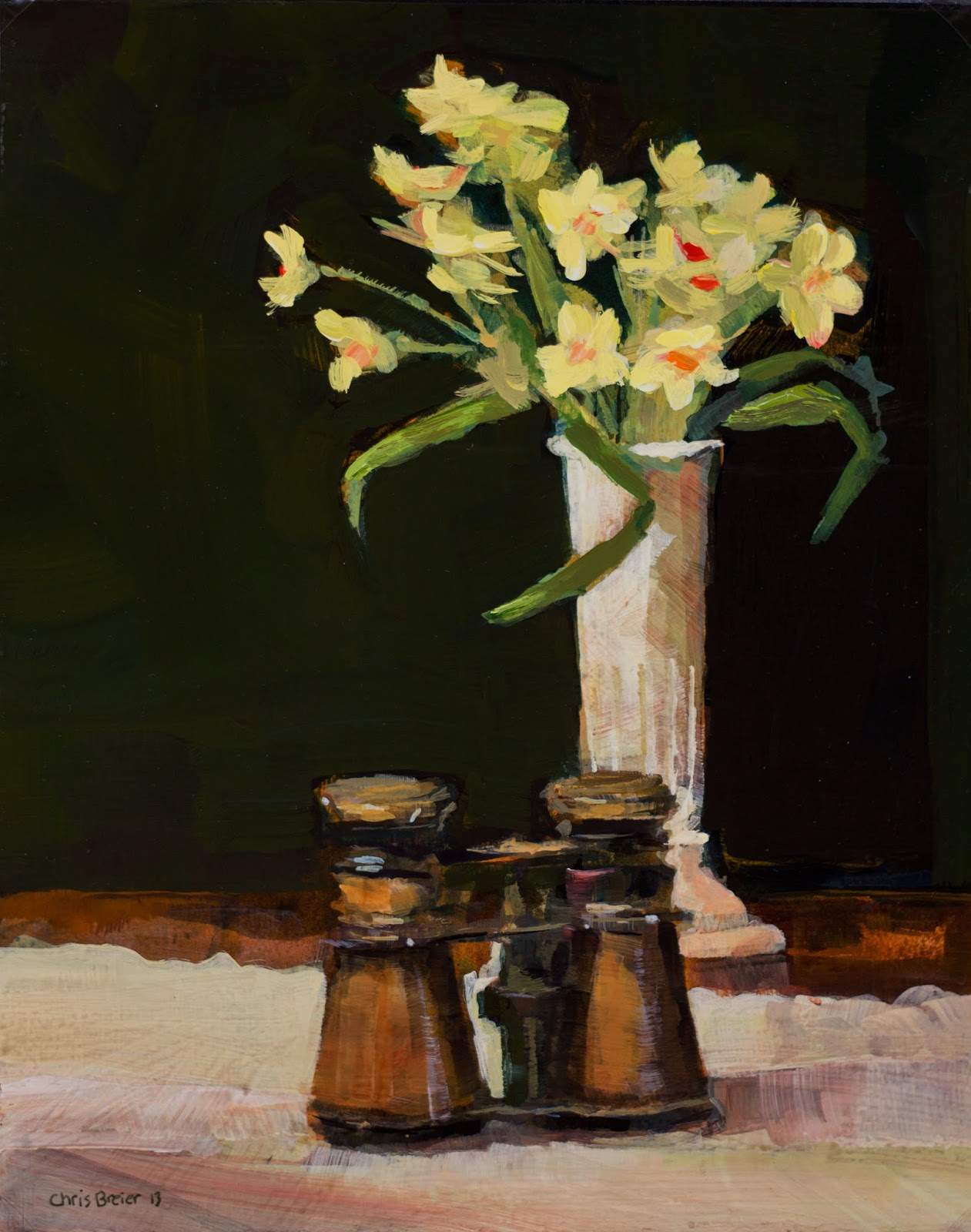 painting of a vase of flowers and antique opera glasses