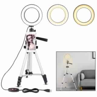 B-Land 6.2 Ring Light with Tripod Stand for YouTube Video and Makeup, Mini LED Camera Light with Cell Phone Holder Desktop LED Lamp with 3 Light Modes & 11 Brightness Level