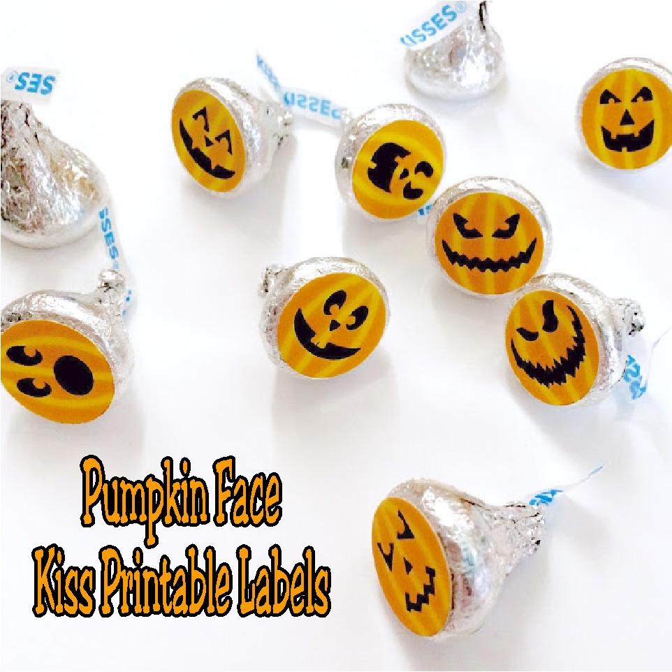halloween pumpkin face kiss label printable everyday parties
