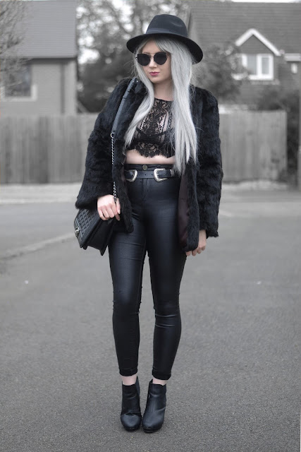 Sammi Jackson - Primark Fedora Hat / Zaful Sunglasses / Shein Faux Fur Coat / Chickaberry Boutique Ilsa Lace Top / Primark Lace Bralet / ASOS Double Buckled Belt / Primark Shiny Jeans / OASAP Quilted Flap Bag / Office Chunky Chelsea Boots