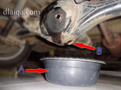 taruh wadah (A) tepat di bawah lubang penguras (B)