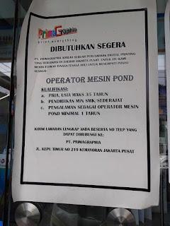 lowongan kerja PT. Primagraphia Jakarta