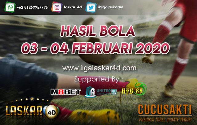 HASIL BOLA JITU TANGGAL 03 – 04 Februari 2020