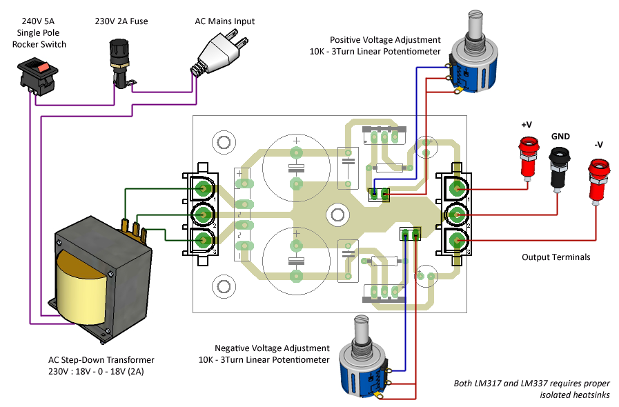 how to make a dual rail power supply