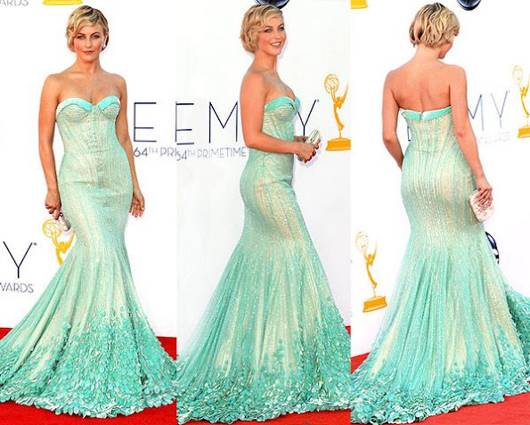 Actress Julianne Hough attended the 2012 Emmy Awards. Julianne Hough wore Georges Hobeika sequins dress