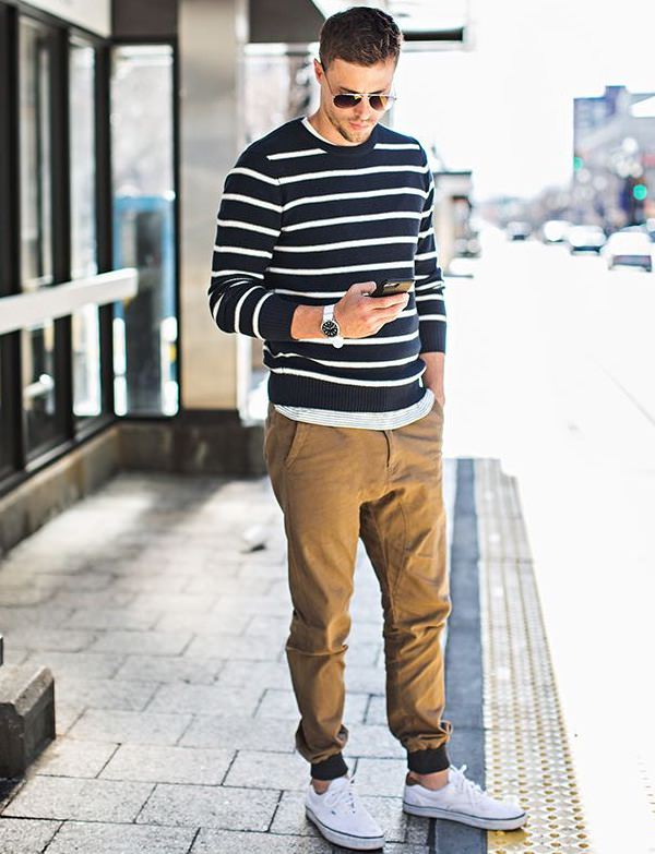 Black White Striped Sweater on Joggers Khaki Pant, khaki pant colors