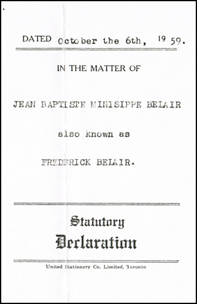 Statutory Declaration 1959 cover view