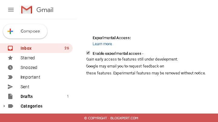 activar funciones experimentales en el nuevo diseño de gmail 2018