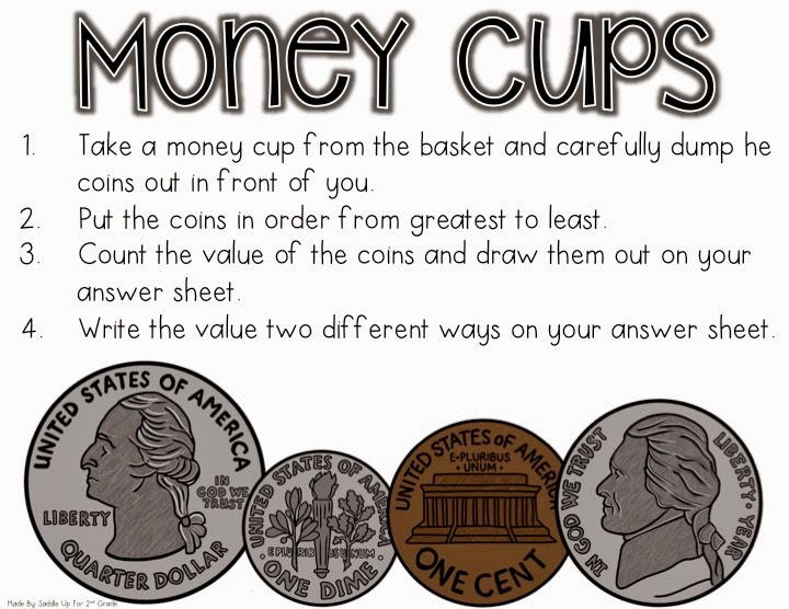 Money Cups FREEBIE by Saddle Up For 2nd Grade