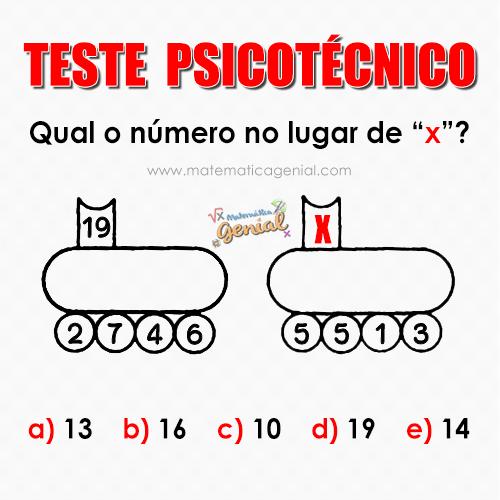 Teste Psicotécnico: Qual o número no lugar de X?