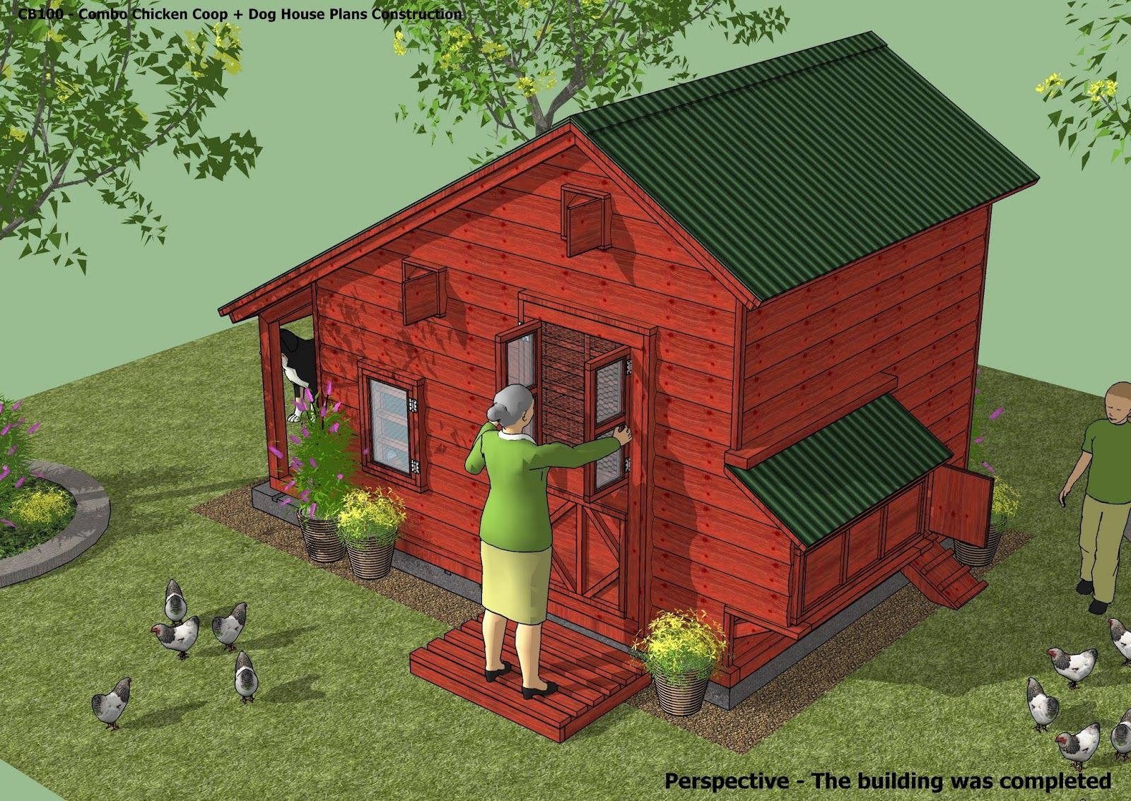Home garden plans cb100 combo plans chicken coop for Homegardendesignplan