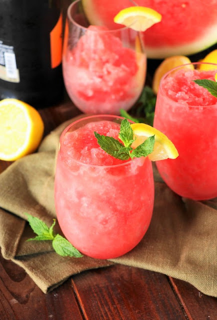 Watermelon-Moscato Slush Image ... grab a big juicy watermelon and some semi-sweet white wine to whip up this refreshingly delicious summer fun.
