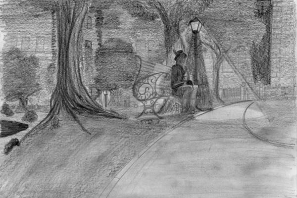 Hexenkater unter der nächtlichen Parkbank