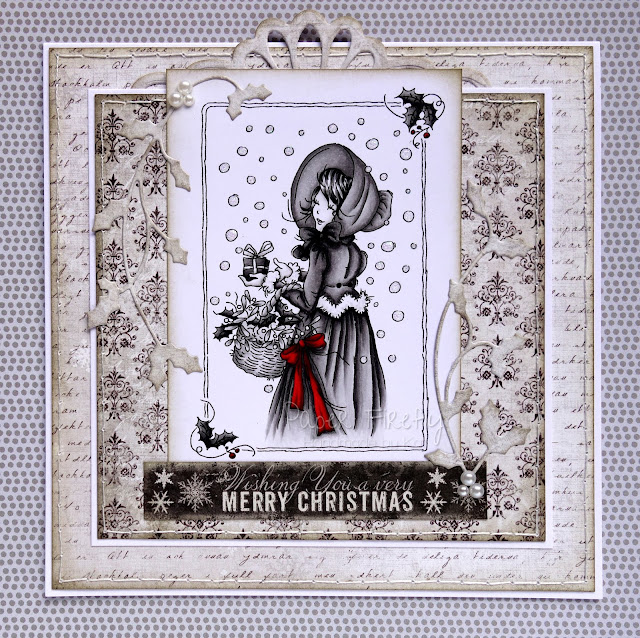 Monochrome vintage style card using LOTV Regency Christmas girl