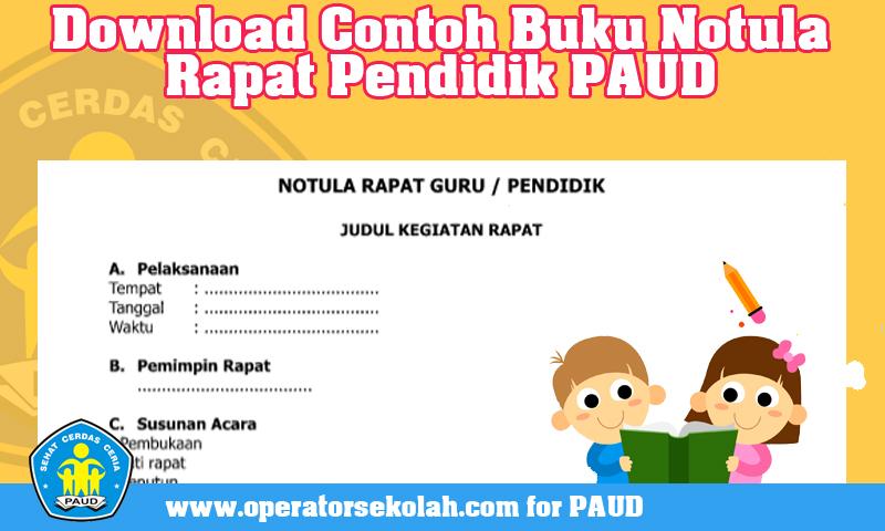 Download Contoh Buku Notula Rapat Pendidik PAUD