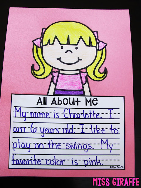 All About Me crafts for kids to do as fun writing activities the first week of school, or even first day of school, to tell their new classroom and teacher about them!