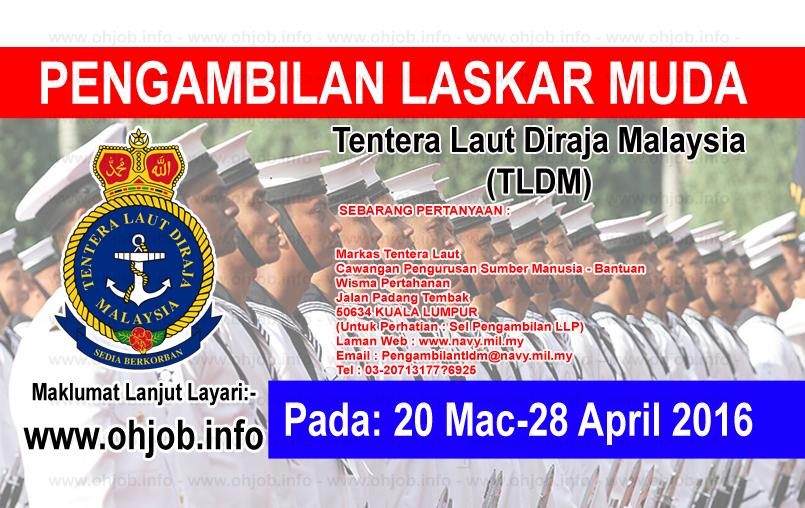Jawatan Kerja Kosong Tentera Laut Diraja Malaysia (TLDM) logo www.ohjob.info 2016