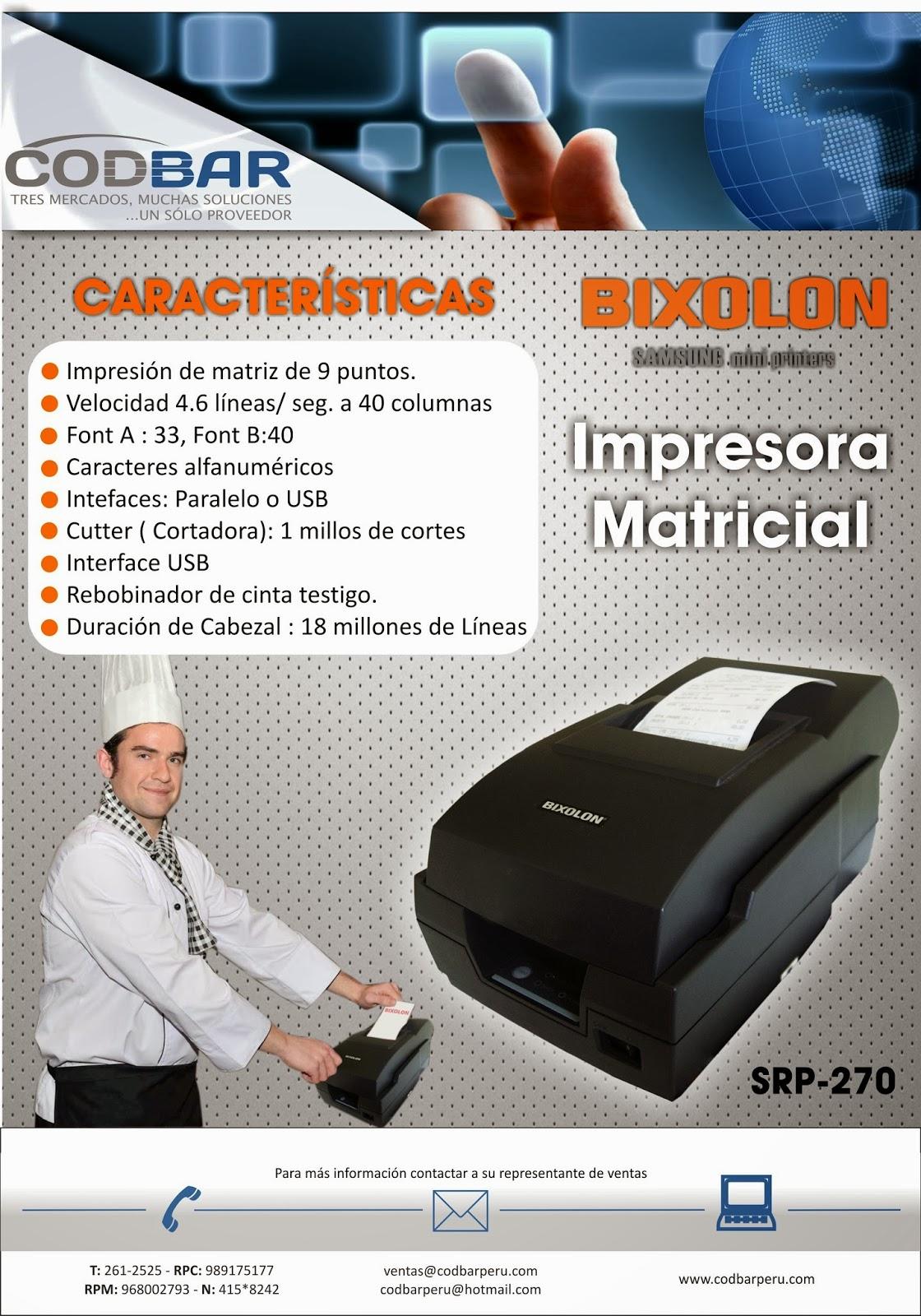 Codbar Productos Impresora Matricial Bixolon Srp 270 Para