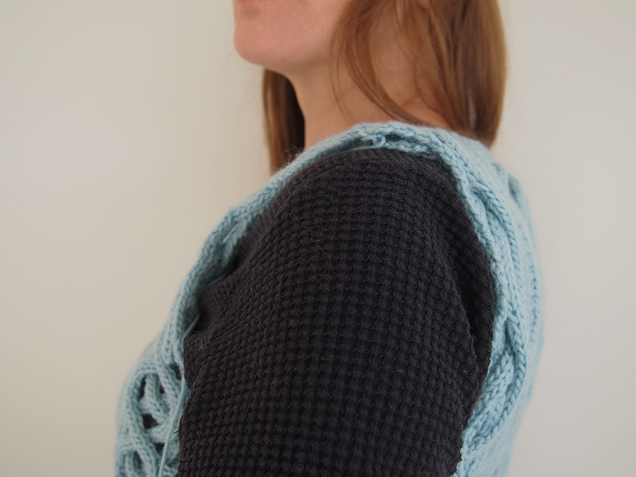 Fretwork Pullover by Shiri Mor (Vogue Knitting Magazine), knit by Dayana Knits in Bergere de France Berlaine