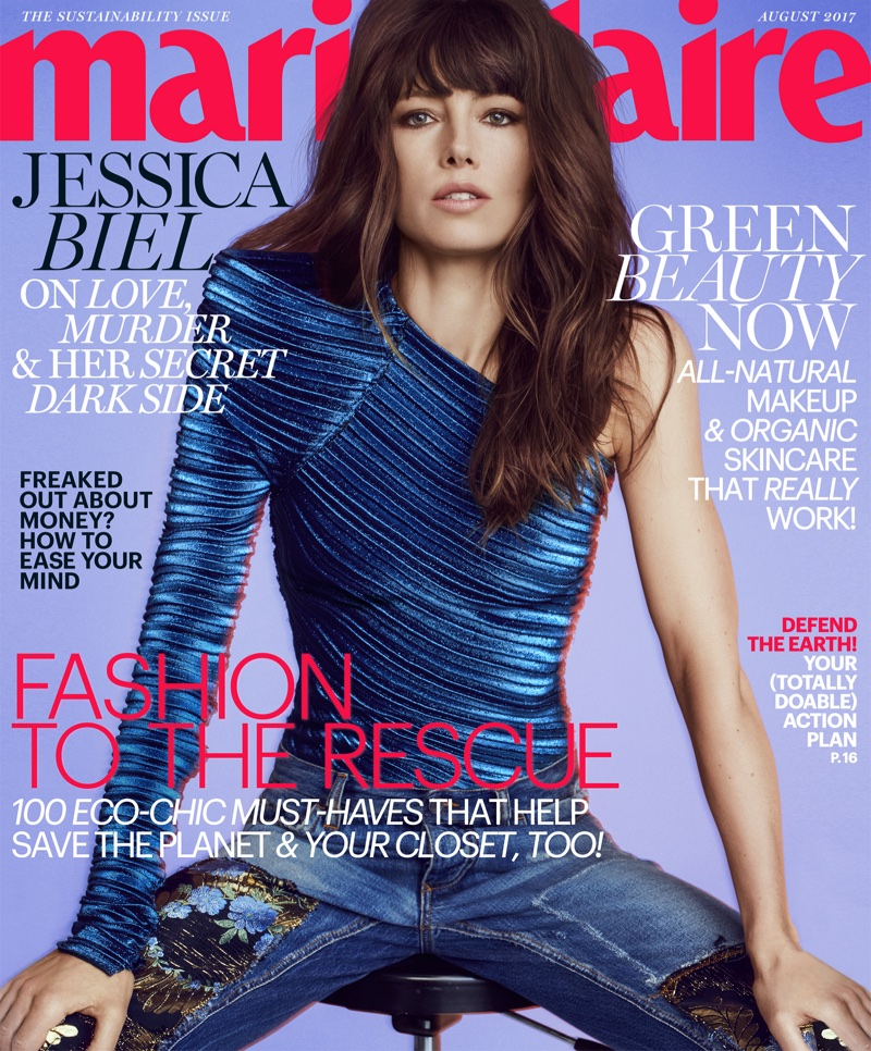 Jessica Biel wears fashion forward looks for Marie Claire August 2017