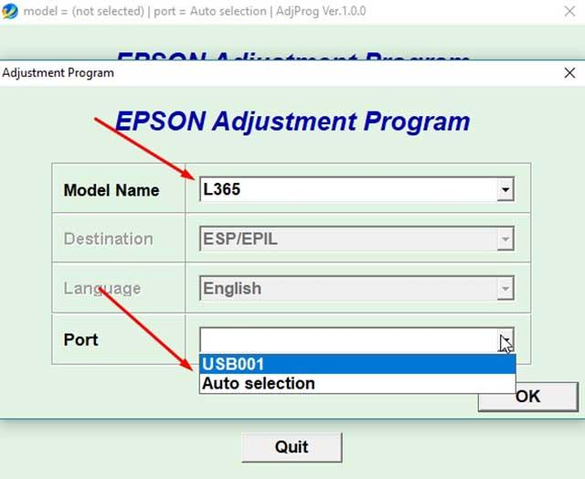 seleccionar el puerto de la impresora epson l365