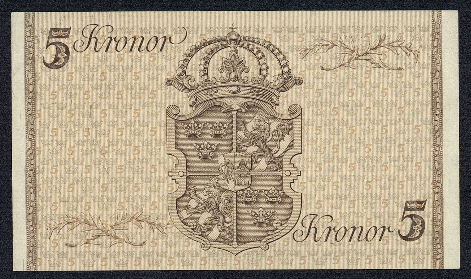 Sweden Banknotes 5 kronor jubilee banknote printed in 1948, to commemorate King Gustav V's 90th birthday on 16 July 1948
