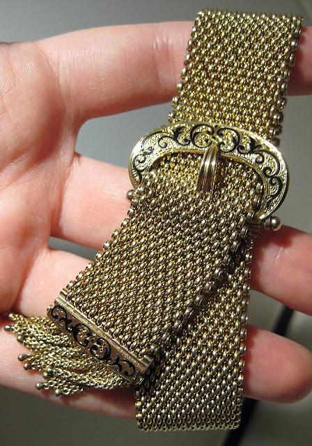 Victorian gold and enamel tassel bracelet.