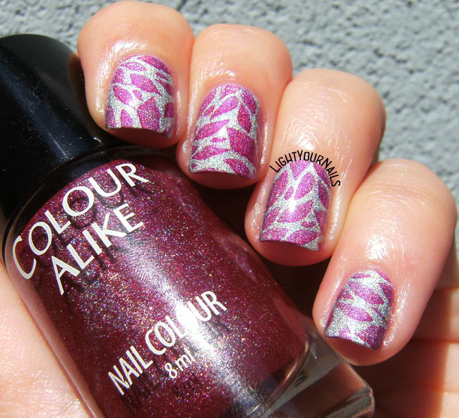 Purple leaves nail stamping