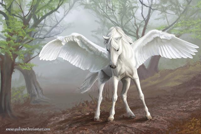 Pégasos - Cavalo alado símbolo da imortalidade.   Sua figura é originária da mitologia grega, presente no mito de Perseu e Medusa. Pégaso nasceu do sangue de Medusa quando esta foi decapitada por Perseu. Belerofonte matou a poderosa Quimera, montando Pégaso após domá-lo.