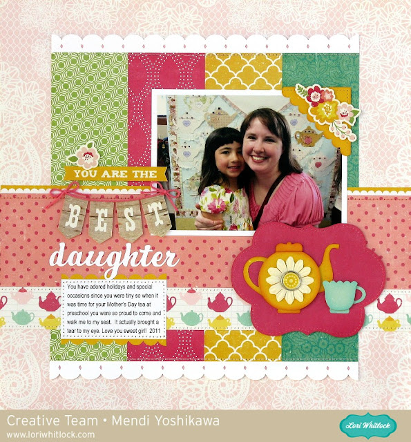 Echo Park Petticoats & Pinstripes Mother's Day Tea Layout by Mendi Yoshikawa (using cutting files by Lori Whitlock)