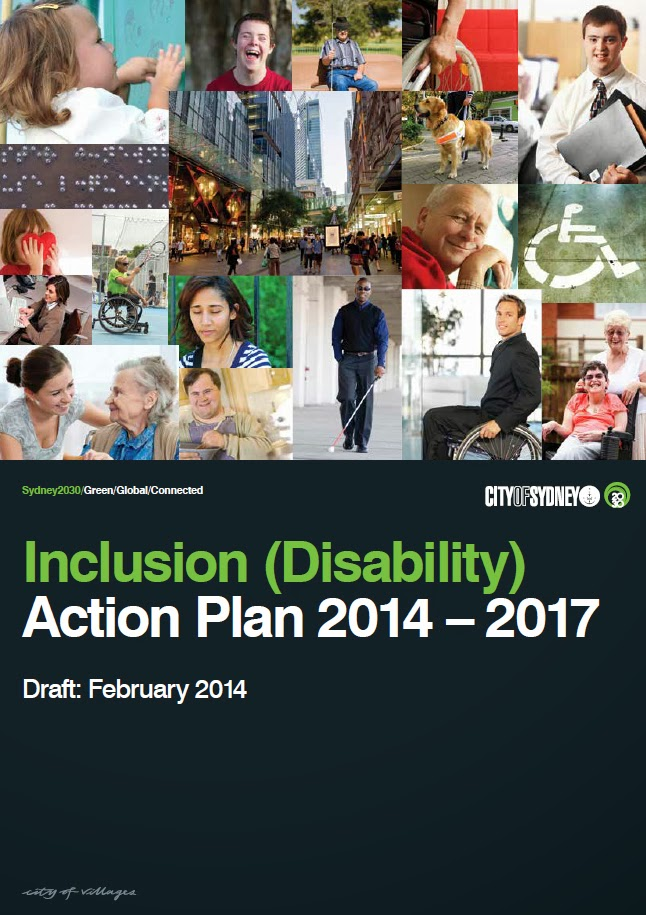 Cover of the Inclusion Action Plan 2014-2017. It features a mosaic of pictures of people with disability on the top half of the page and the title of the plan on the bottom half of the page.