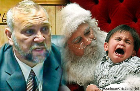Pastor y Papá Noel con niño llorando