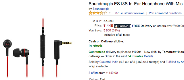 Soundmagic ES18S Earphone With Mic for Just Rs.449: Deal Alert