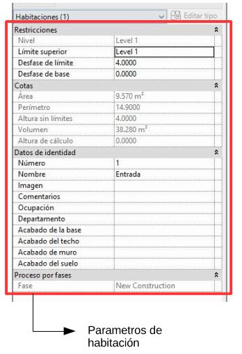 Captura de pantalla: parámetros de habitación