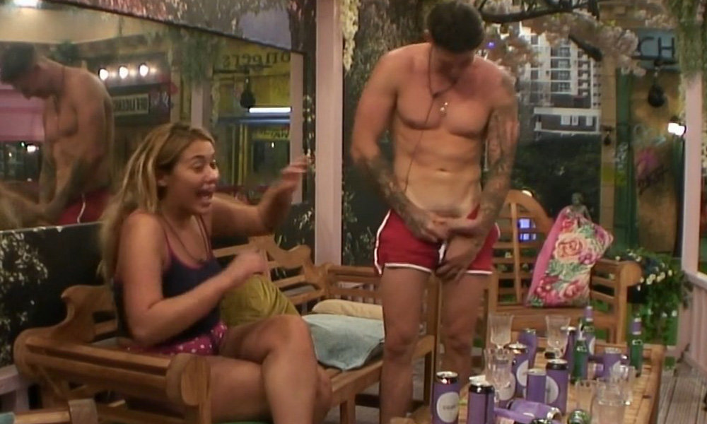 Celebrity big brother's chloe khan strips off topless before running through the house naked
