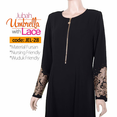 Jubah Umbrella Lace JEL-28 Black Depan 3