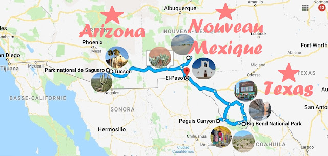 Carte road-trip Texas, Arizona, Nouveau-Mexique
